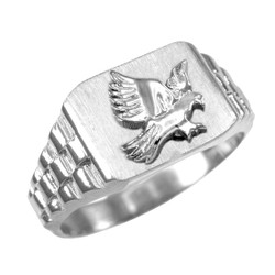 Mens White Gold American Eagle Ring