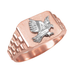 Rose Gold American Eagle Mens Rectangular Ring