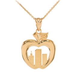 Polished Gold New York City Big Apple Pendant Necklace