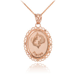 Rose Gold Pisces Zodiac Sign Filigree Oval Pendant Necklace