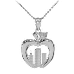 White Gold New York City Big Apple Pendant Necklace