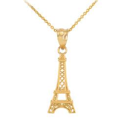 Gold Paris Eiffel Tower Travel Charm Necklace