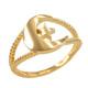 Gold Crescent Moon Islamic Ring
