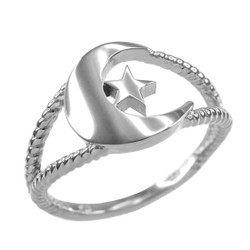 Silver Crescent Moon Islamic Ring