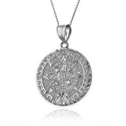 Sterling Silver Aztec Mayan Sun Calendar Pendant Necklace