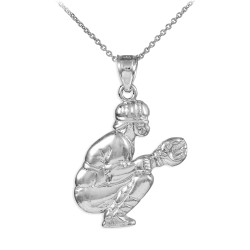 Silver Baseball Catcher Charm Sports Pendant Necklace
