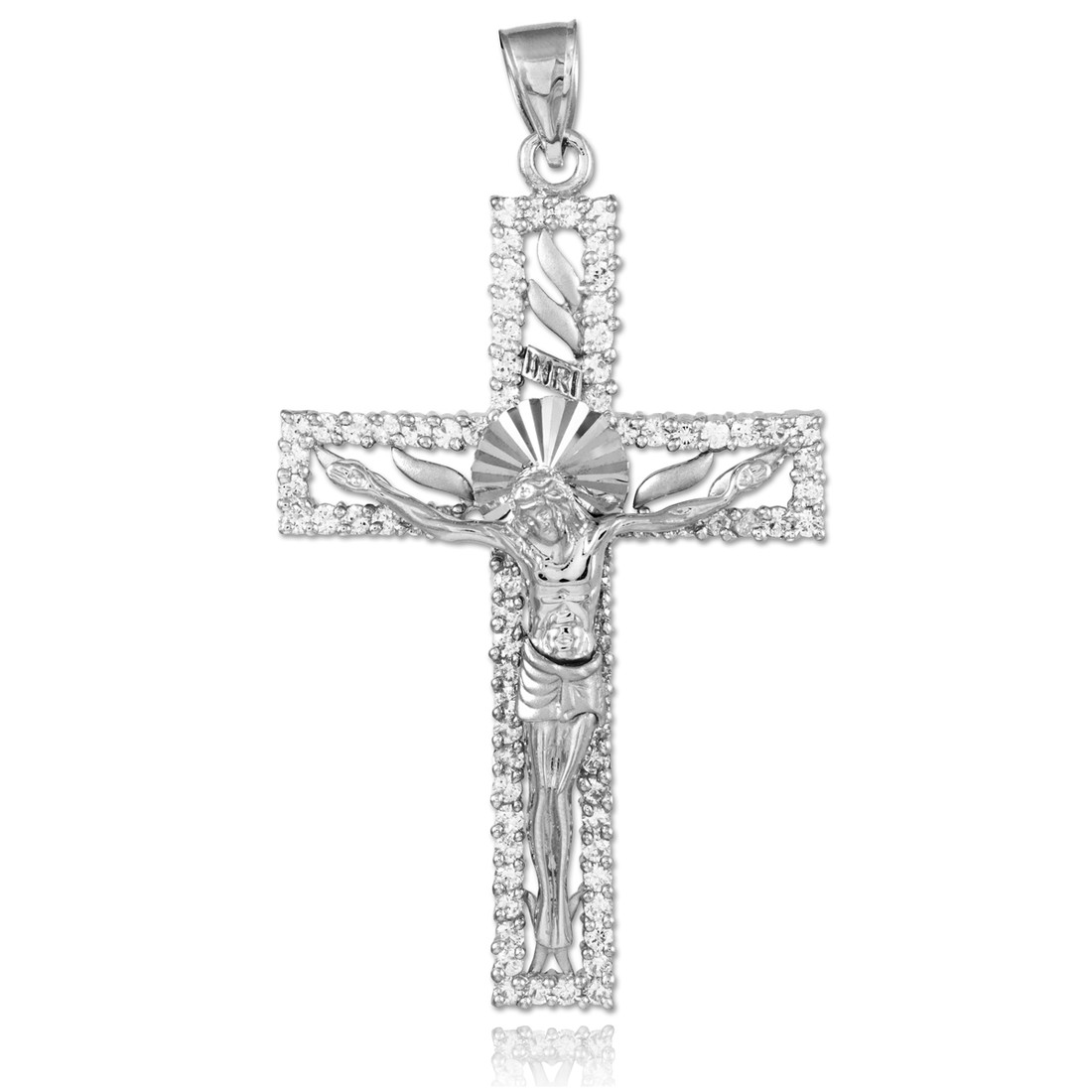 925 Sterling Silver Satin and Diamond-cut INRI Crucifix Pendant