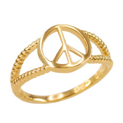 Gold PEACE symbol ring.