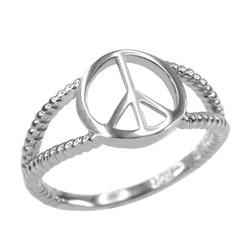 Silver PEACE symbol ring.