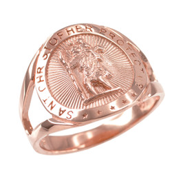 Rose Gold St. Christopher Ring.