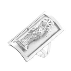 Silver Santa Muerte Grim Reaper Fancy Ring 0.9 Inch
