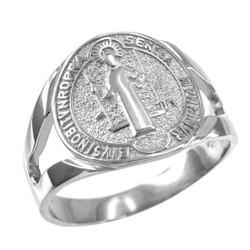 White Gold St. Benedict Ring.