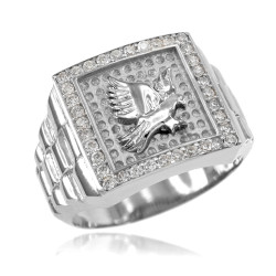 Sterling Silver American Eagle Iced CZ Mens Watchband Ring