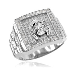 Sterling Silver Mens Horseshoe Iced CZ Ring