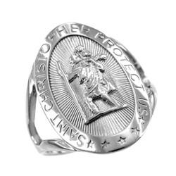 White Gold St. Christopher ring.