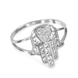 White Gold Hamsa Ring