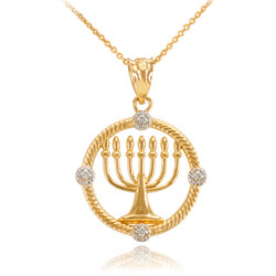 Gold Menorah Diamond Necklace