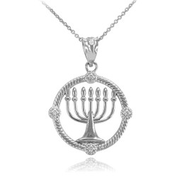 White Gold Hanukkah Necklace