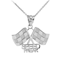 Sterling Silver  Racing Flags with Speed Freak Charm
