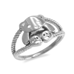 Silver Teddy Bear Ring