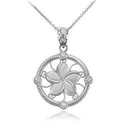 White Gold Hawaiian Plumeria Diamond Necklace