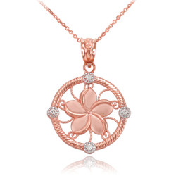 Rose Gold Hawaiian Plumeria Diamond necklace