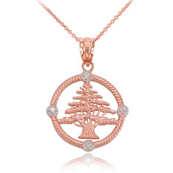 Rose Gold Cedar Tree of Lebanon Necklace