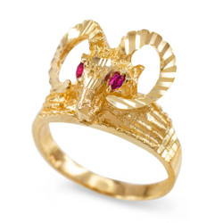 Gold Ram Head Red CZ Textured Ring