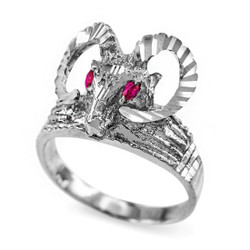 White Gold Ram Head Red CZ Textured Ring
