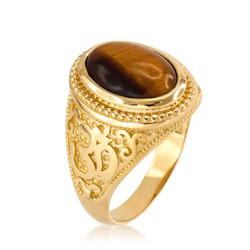 Gold Om ring. Tiger Eye Om ring. Mens Om ring.