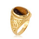 Gold Om ring. Tiger Eye Om ring. Mens Om ring.