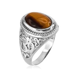 White Gold Tiger Eye Om ring