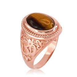 Rose Gold Tiger Eye Om ring