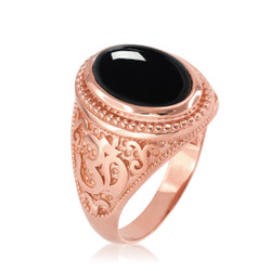 Rose Gold Om ring. Men's Rose Gold Onyx ring.