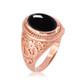Rose Gold Om ring. Men's Rose Gold Onyx ring.