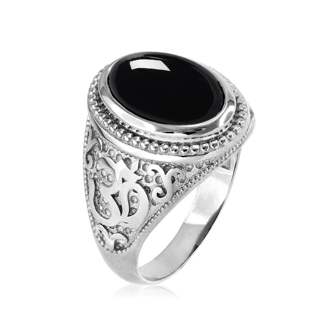 d09608e43f7b1 ... Sterling Silver Om Oval Cabochon Black Onyx Mens Yoga Ring. Silver Onyx  Men s Om ...
