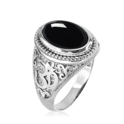 Silver Onyx Men's Om ring.