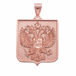 Solid Rose Gold Russian Federation Coat of Arms Badge Pendant