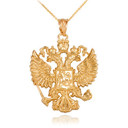 Gold Russian Coat of Arms Double-Headed Eagle Slavic Pendant Necklace