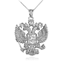 White Gold Russian Coat of Arms Double-Headed Eagle Slavic Pendant Necklace