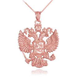 Rose Gold Russian Coat of Arms Double-Headed Eagle Slavic Pendant Necklace