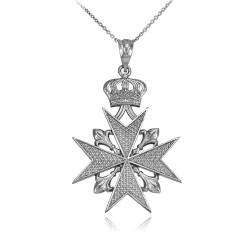 White Gold Maltese Cross Necklace