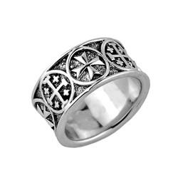 Sterling Silver Jerusalem Cross Mens Band Ring