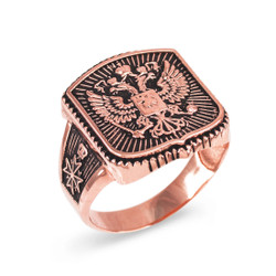 Dark Rose Gold Russian Imperial Crest Double-headed Eagle Mens Orthodox Ring