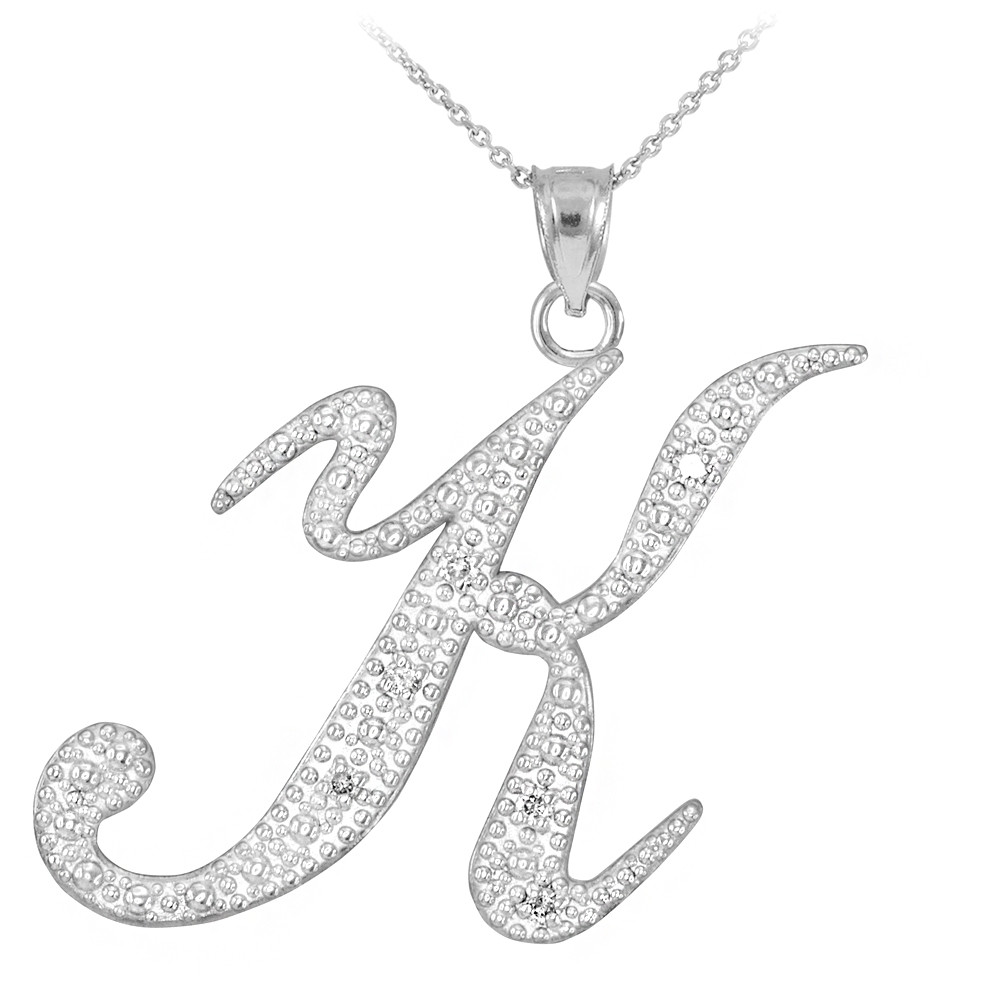 Sterling Silver CZ Initial A Pendant