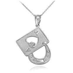 Sterling Silver Lucky Ace Card Horseshoe Pendant Necklace