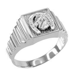 Sterling Silver Lucky Horseshoe Square Mens Ring