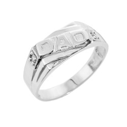 "Sterling Silver Men's CZ ""DAD"" Ring"