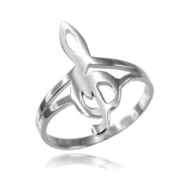 Sterling Silver Music Note Dainty Ring