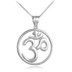 Sterling Silver Om (Ohm) Open Medallion Pendant Necklace